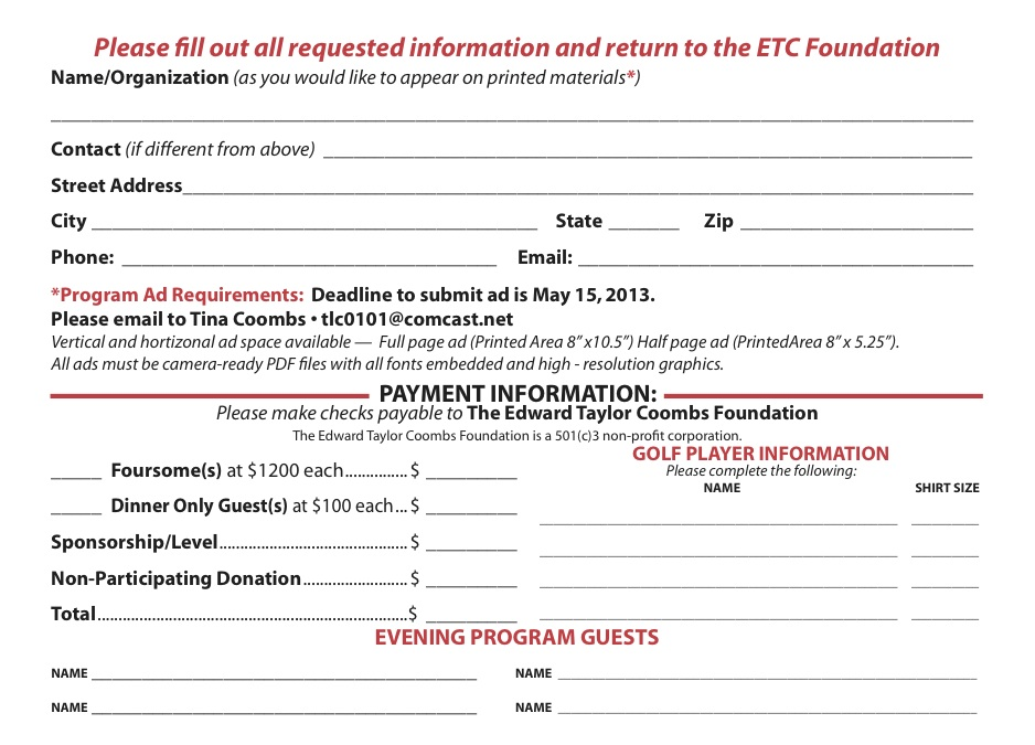 2nd Annual ETC Golf Outing Registration ETC Foundation – Sponsorship Cards